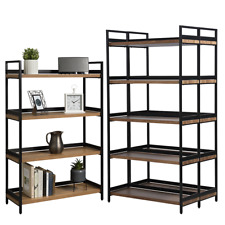 1 x 4 Tier & 2 x 5 Tier Contemporary Industrial Bookcases Shelving Oak Style