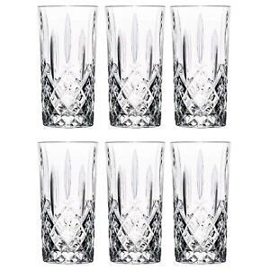 6x Highball Cocktail Glasses Set RCR Crystal Cut Glass Drinking Tumblers 396ml