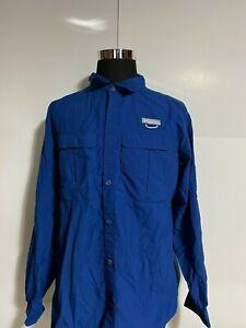 COLUMBIA Men's Blue Long Sleeve Hiking/Fishing Shirt sz XL