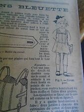 """PATRON ORIGINAL  POUPEE """" BLEUETTE """" LINGERIE CORSET  AOUT 1916"""