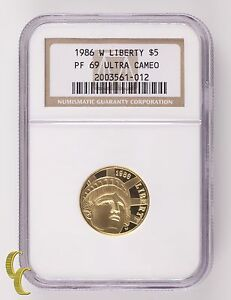 1986-W Liberty G$5 Gold Commemorative Graded by NGC as PF-69 Ultra Cameo