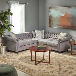 Amberside 5 Seater Fabric Tufted Chesterfield Sectional by Christopher Knight Ho