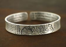999 Sterling Silver Great Compassion Mantra Heart Sutra Lotus Bracelet A2742