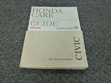 1998 Honda Civic Sedan Owner Owner's Manual User Guide DX EX LX 1.6L