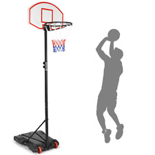 Adjustable Basketball Hoop Goal System Stand with Wheels Indoor Outdoor Sports