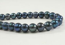 8 mm Large Hole Dark Blue Semi Round Freshwater Pearl Beads 2mm Hole Size (#215)