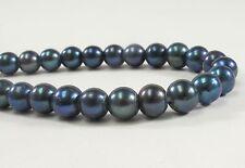 8 mm Large Hole Dark Blue Semi Round Freshwater Pearl Beads 2mm Hole Size (#215)