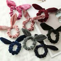 Velvet Bow Rabbit Ear Scrunchie Hair Band Rope Elastic Tie Ponytail Holder Cute