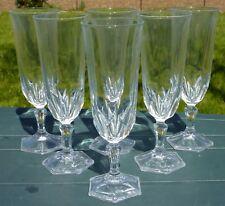 Service de 6 flûtes à champagne en cristal d'Arques, modèle Chaumont