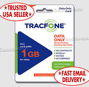 TracFone 1GB Data Only Card QUICK EMAIL DELIVERY PIN # Minutes Smartphones BYOP