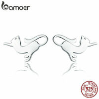 BAMOER Smooth .925 Sterling Silver Stud Earrings Playful cat For Women Jewelry