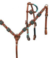 Showman TEAL & BLACK One Ear Beaded Headstall & Breast Collar Set! HORSE TACK!