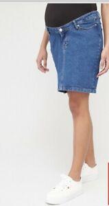 V By Very Maternity Denim Skirt - Dark Wash Size 16 Rrp 28