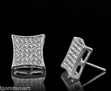 Pair Iced Crystal 18K White Gold Filled Large Square Ear Stud Earrings W/ Box
