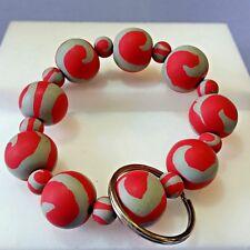 Red Gray Polymer Clay Bead Key Fob Stretch Bracelet F201