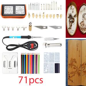 71pcs 60W Wood Burning Pen Tool Soldering Stencil Iron Craft Pyrography Kit UK