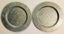 """2 Galvanized Metal Charger Plates 13"""" Farmhouse Rustic Shabby Chic Serving Tray"""