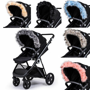 Pram Fur Hood Trim Attachment For Pushchair Compatible with Chicco