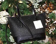 💚 KATE SPADE Lola Glitter Satchel Crossbody Bag Holiday Purse Handbag Black NWT