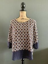 Shirt Blouse Top by LE LIS Blue Orange Size Small      MAY2020
