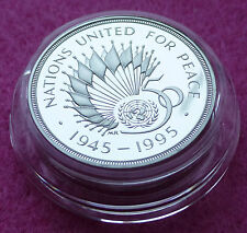 1995 PIEDFORT  UN  50TH ANNIVERSARY SILVER TWO POUND PROOF COIN BOX + COA