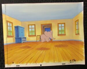 BABAR THE ELEPHANT Cartoon Animation Cel & Painted Background FVF 7.0 B-53