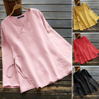 Women Long Sleeve Crew Neck Cotton Long Shirt Tops Loose Oversize Blouse Plus