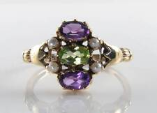 SUFFRAGETTE 9K 9CT GOLD PERIDOT AMETHYST PEARL ART DECO RING FREE RESIZE