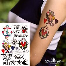 Tatuajes Temporales Set, Marinero, Ancla, cráneo, estrellas, para hombres, mujeres, niños, Negro