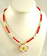New Hawaiian Tropical Hibiscus Flower Pendant Necklace with Glass Beads #N2430B