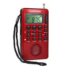 Red Mini FM AM Radio MP3 Music Player(32GB)USB Speaker &Alarm Clock Sleep timer