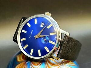 Vintage Waltham Blue Face Dial Stainless Steel Men's Wrist Watch With Date!