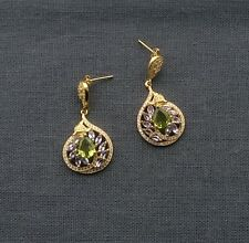 GOLD ON 925 SOLID STERLING SILVER PERIDOT TANZANITE DROP STUD EARRINGS