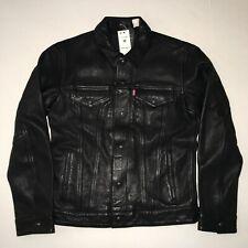 Levi's Genuine Black Bovine Leather Trucker Jacket - Medium