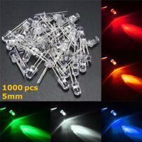 1000pcs 5MM Red/Green/Blue/Yellow/White Round Water Clear LED Light Diodes 2018