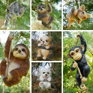 Hanging Monkey Cat Pig Sloth Garden Sculpture Resin Home Décor Ornament GIFT New