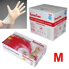 SunnyCare #7802 Powder Free Vinyl Gloves Food Service (Latex Nitrile Free) 🔥 M