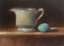 Blue Egg and Creamer Original Miniature Kitchen Still Life Oil Painting  ACEO