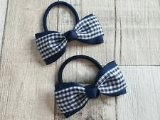 Handmade Summer Hair bobbles Navy Blue gingham set Accessories/School