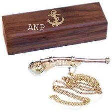 "5"" Brass golden Boatswain Whistle w Chain Wooden Box Bosun Call Pipe Maritime,"