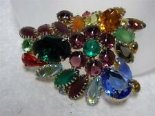 "VINTAGE Hattie Carnegie Multi Color Rhinestone Pin Brooch 2.5"" x 2"" Gorgeous"