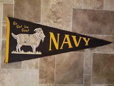(L@@K) 1950s navy football pennant go get em goat college sports