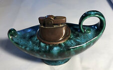 VTG CERAMIC GENIE LAMP REFILLABLE TABLE CIGARETTE CIGAR LIGHTER Green Blue Acid