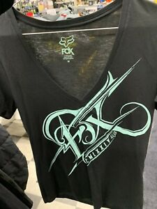 New FOX Women's Splinter V-Neck T-Shirt ~Black~M~ # 08811-001-M