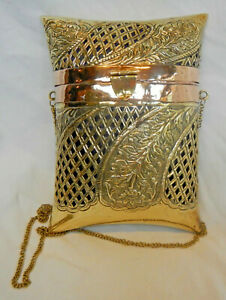 Antique & Very Ornate Indian Brass & Copper Pillow Handbag