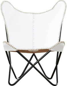 Handmade genuine vintage white leather cover butterfly chair with foldable stand