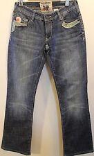 Parasuco Denim Cowboy Women Denim Jeans  with Leather Pockets Cotton Studs 28