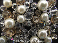 Glass Bead Mix / Bracelet Making Kit - Ivory & Clear - Champagne and Diamonds