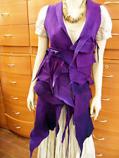 VEST FELTED WOOL LONG PURPLE MADE IN EUROPE ARTSY UNIQUE WOMEN HOLIDAY GIFT XS S