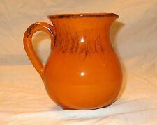 Vintage Italian Pottery Pitcher Jug Orange With Black Accents Decanter or Vase